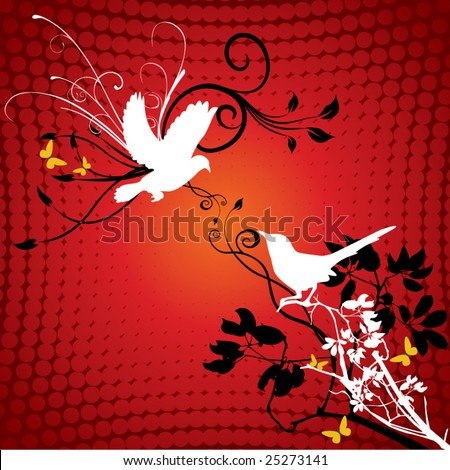 bird silhouette part2 of 2:artistic bird - stock vector