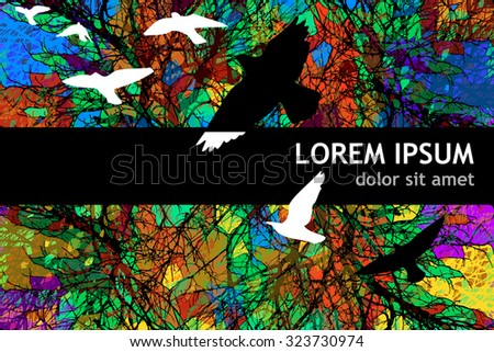 Bird silhouette with colorful tree branches. Vector