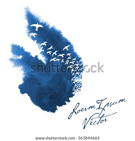 bird silhouettes in painted watercolor background - stock vector