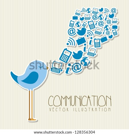 bird singing with communication signs. vector illustration - stock vector