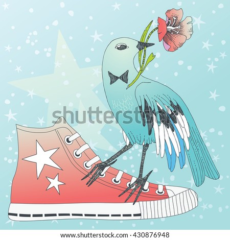 Bird sitting on a red sneaker - stock vector