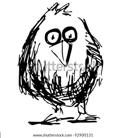 Bird sketch vector illustration in funny doodle style - stock vector