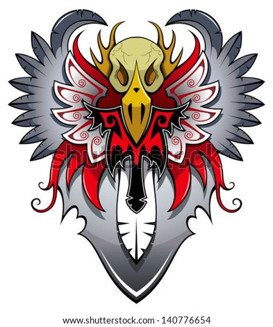 Bird skull with wings, tattoo, vector illustration