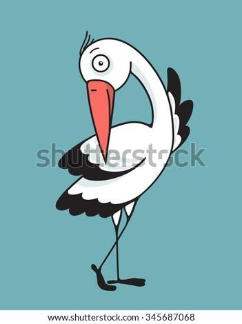 Bird Stork Flat Design Character. Bird stork flat design. Mascot and wing, nature and beak, wildlife vector illustration - stock vector