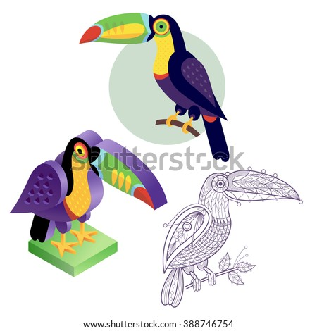 Bird toucan. Flat icon, template for adult coloring, isometric view. Set of vector birds in different unusual style. Illustration collection of images birds isolated on white background. - stock vector