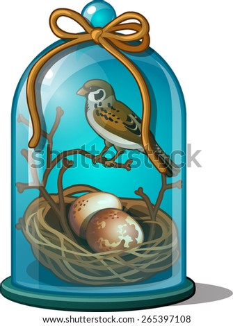 bird under a glass dome and eggs in the nest - stock vector