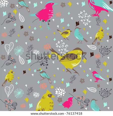 bird wallpaper - best card design - vintage cover - hand-drawn and very high quality - stock vector