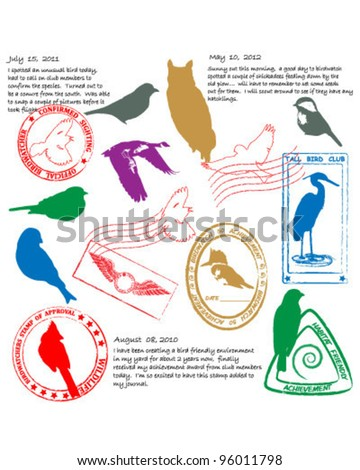 Bird Watching Stamps Icon Collection        vector eps10 - stock vector