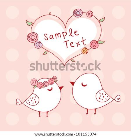 bird wedding card - stock vector