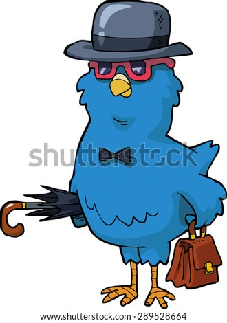 Bird with a hat and a valise vector illustration - stock vector