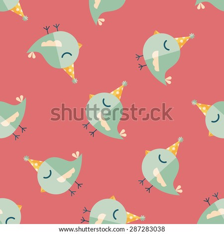 bird with birthday hat flat icon,eps10 seamless pattern background - stock vector