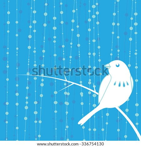 bird with blue background - stock vector