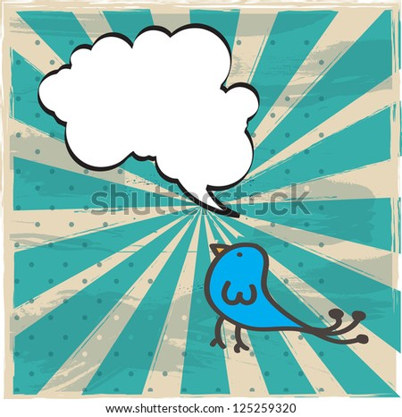 bird with bubble over vintage lines background vector illustration - stock vector
