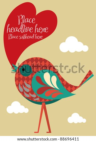 bird with heart speech bubble vector/illustration - stock vector