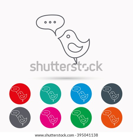 Bird with speech bubble icon. Chat talk sign. Cute small fowl symbol. Linear icons in circles on white background. - stock vector