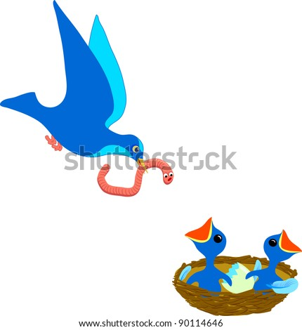 Bird with worm flies to nest with hungry chicks - stock vector
