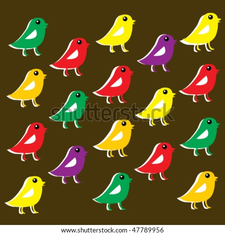 bird wrapping paper 2 - stock vector