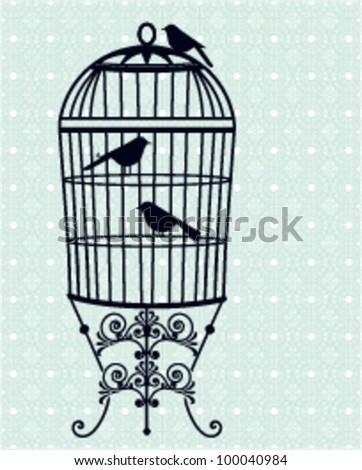 Birdcage, birds wallpaper - stock vector