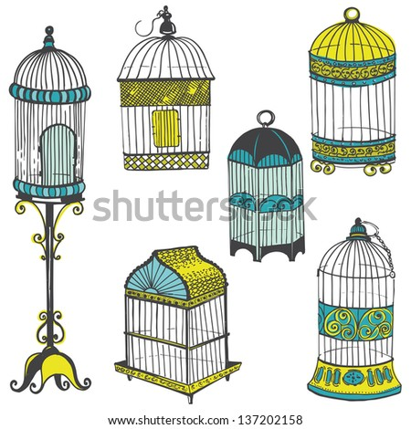 Birdcages Collection - for design or scrapbook - in vector - stock vector