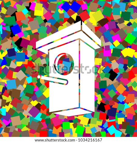Birdhouse sign illustration. Vector. White icon on colorful background with seamless pattern from squares.