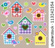 Birdhouses,birds and flowers. Set of vector stickers - stock vector