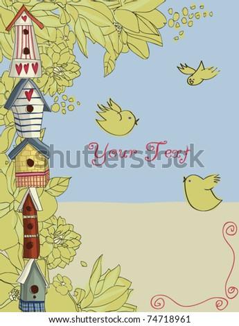 Birdhouses, vertical background - stock vector