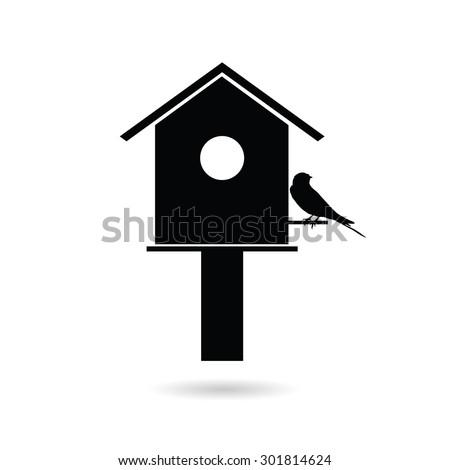birdhouses with sparrow black vector silhouette - stock vector