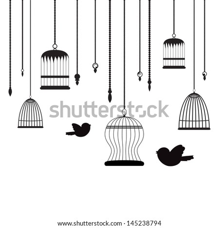 birds and birdcages background - stock vector
