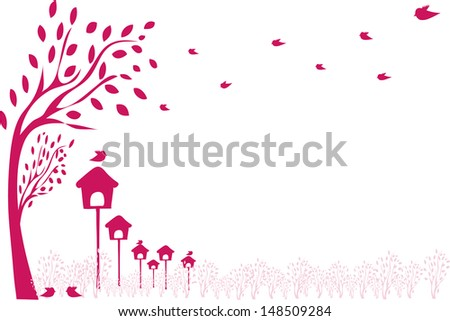 Birds and birdhouses - stock vector