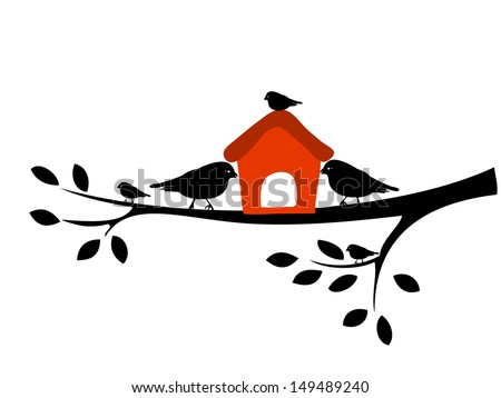 Birds and birdhouses, silhouette birds on the branch - stock vector
