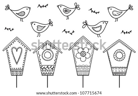 Birds and birdhouses - stylized hand drawn illustration - stock vector