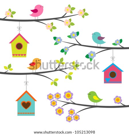 Birds and birdhouses. Vector set - stock vector