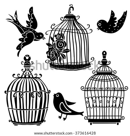 Birds and cages set black silhouettes isolated on white background