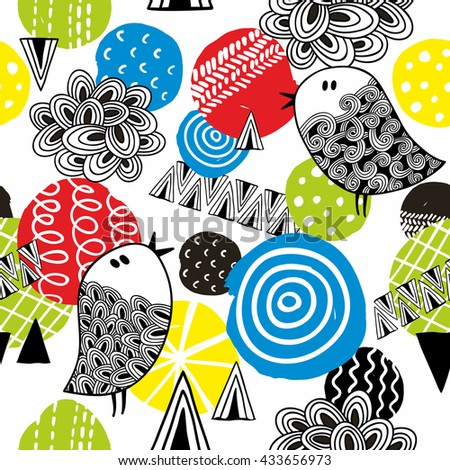 Birds and circles seamless pattern. Colorful summer illustration in vector.