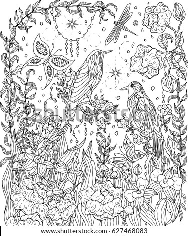 Birds Flowers Coloring Page Birds Paradise Stock Vector 627468083
