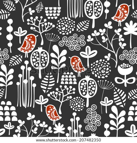 Birds and flowers seamless pattern. Vector texture.  - stock vector