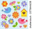 Birds and flowers. Vector set of stickers - stock vector