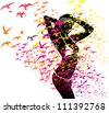 birds and girls - stock vector