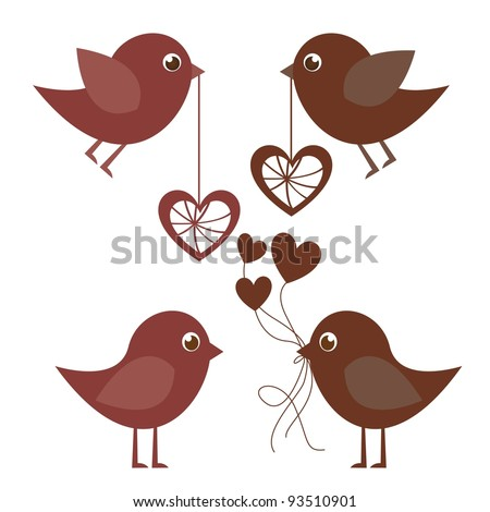 Birds and hearts on white background, vector illustration - stock vector