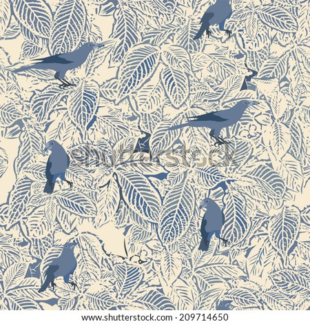 Birds and leaves seamless pattern - stock vector