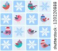 Birds and snowflakes. Seamless winter vector pattern - stock vector