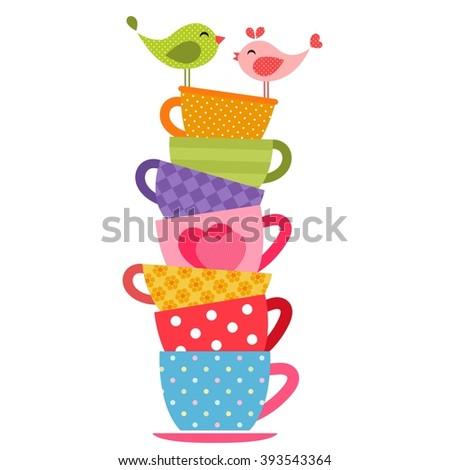 Birds and tea cups - stock vector