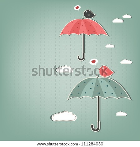birds and umbrellas - stock vector