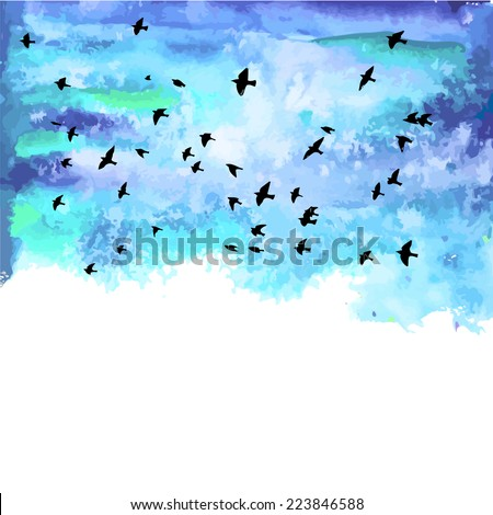 Birds and watercolor blue clouds. Vector - stock vector