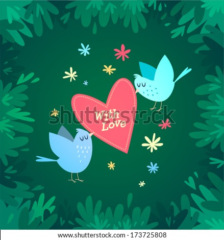 Birds are holding a heart. Vector illustration. Valentine's Day Card. - stock vector