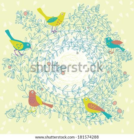 Birds around Swirl Twig - stock vector