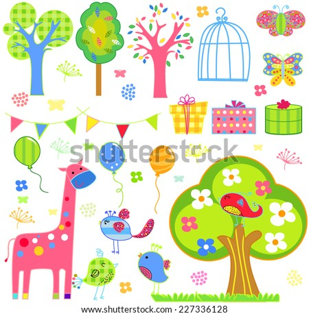Birds, blooming trees, flowers and insects. - stock vector