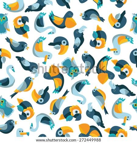 birds bright seamless pattern - stock vector