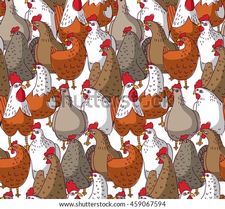 Birds chicken big group color seamless pattern. Color vector illustration. EPS8
