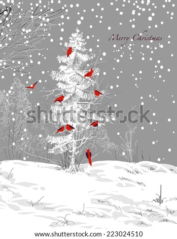 Birds Christmas tree, winter scene - stock vector